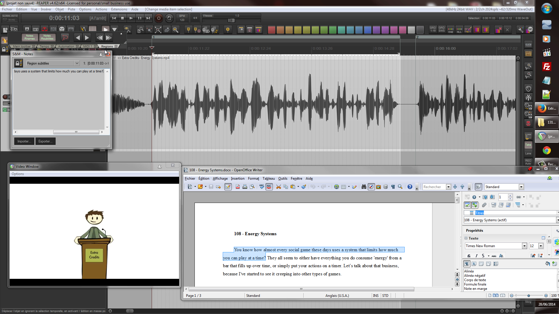 Quick and Easy Subtitling from a Transcript using Reaper and