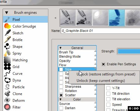 You can lock parameters from brush to brush in the brush editor.