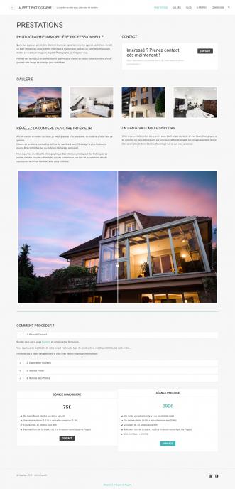 La page de présentation des prestations, construite avec le theme builder inclus dans le thème. Un slider permet de faire un Avant/Après retouche au survol de la souris sur la photo centrale.