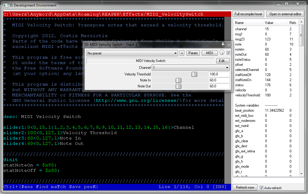 Coding a JSFX rigth inside REAPER, thanks to the new built-in IDE.