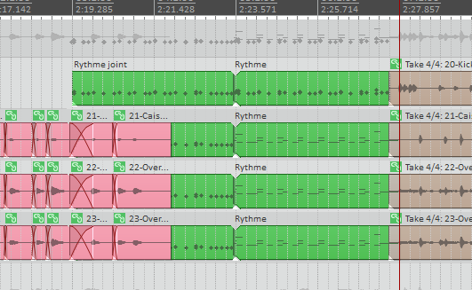 Audio and MIDI items on the same tracks. I used this to replace a song section. The MIDI notes trigger drum samples, and these pass through the same routing as the original audio recordings.