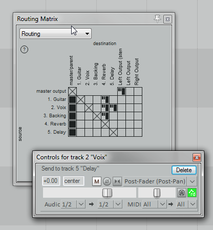 As you can see in the Routing Matrix, Guitar, Vox and Backing tracks are sent to the same reverb, but only Vox is sent to the Delay bus.