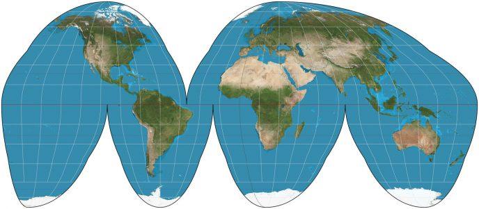Les cartes homolosines ont une allure de peau de clémentine. C'est une façon de representer une sphère sur un plan en limitant les distortions (ici, celles des terres). En contre partie, il y a une impression de trous dans la carte (mais ce n'est pas liés à une manque de données géographiques, toute la surface de la Terre est bien représentée sur cette illustration).