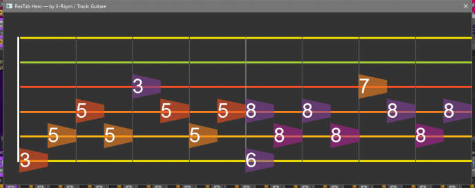 Simple arpeggios displayed in ReaTab Hero.